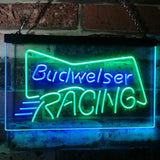 Budweiser Racing Neon-Like LED Sign - Dual Color - Green and Blue - SafeSpecial