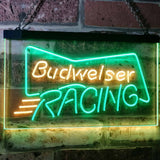 Budweiser Racing Neon-Like LED Sign - Dual Color - Green and Yellow - SafeSpecial