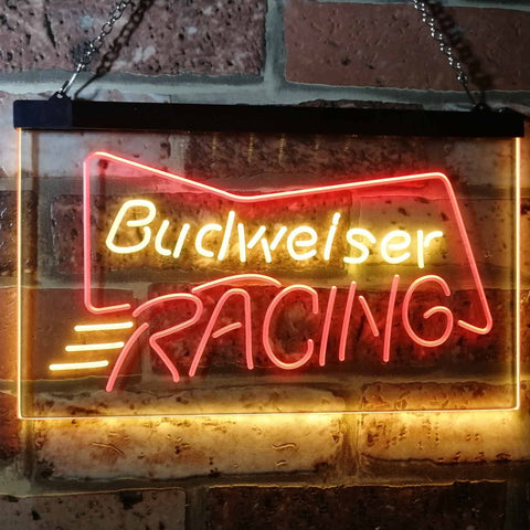 Budweiser Racing Neon-Like LED Sign - Dual Color - Red and Yellow - SafeSpecial