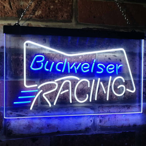 Budweiser Racing Neon-Like LED Sign - Dual Color - White and Blue - SafeSpecial