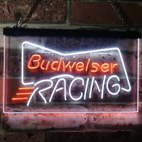 Budweiser Racing Neon-Like LED Sign - Dual Color - White and Orange - SafeSpecial