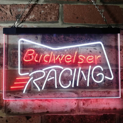 Budweiser Racing Neon-Like LED Sign - Dual Color - White and Red - SafeSpecial