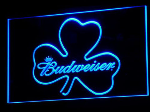 Image of Budweiser Shamrock LED Neon Sign - Blue - SafeSpecial