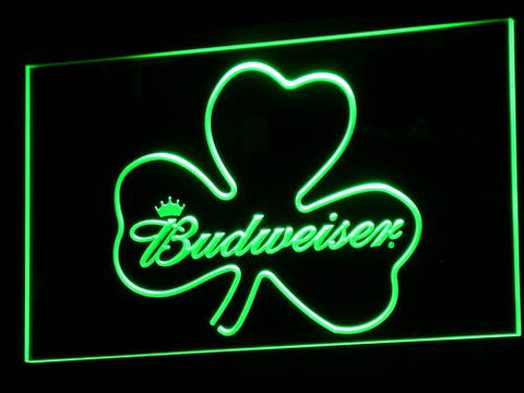 Image of Budweiser Shamrock LED Neon Sign - Green - SafeSpecial