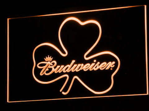 Image of Budweiser Shamrock LED Neon Sign - Orange - SafeSpecial