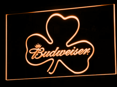 Budweiser Shamrock LED Neon Sign - Orange - SafeSpecial
