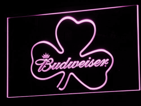 Image of Budweiser Shamrock LED Neon Sign - Purple - SafeSpecial