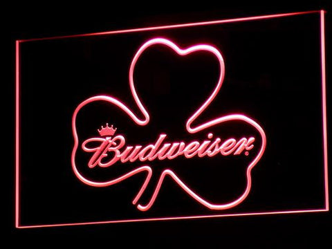 Image of Budweiser Shamrock LED Neon Sign - Red - SafeSpecial