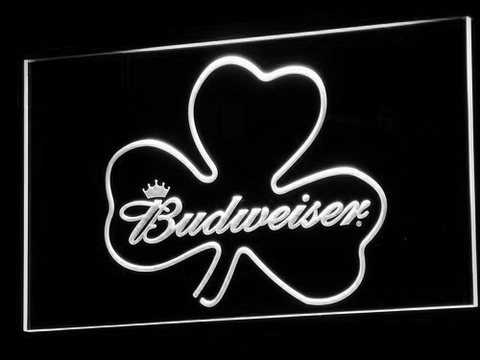 Image of Budweiser Shamrock LED Neon Sign - White - SafeSpecial