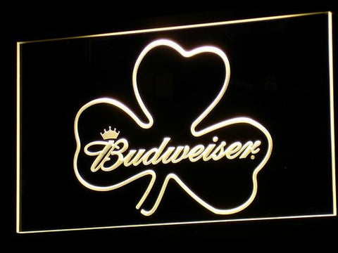 Image of Budweiser Shamrock LED Neon Sign - Yellow - SafeSpecial