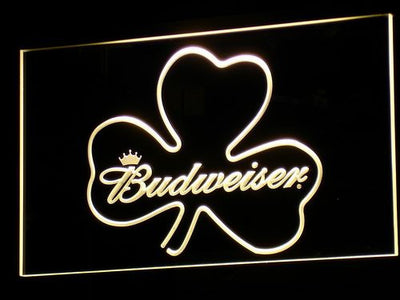 Budweiser Shamrock LED Neon Sign - Yellow - SafeSpecial