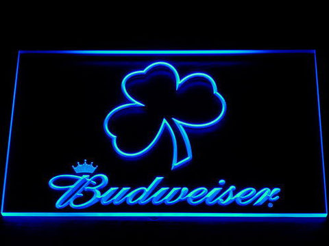 Budweiser Shamrock Outline LED Neon Sign - Blue - SafeSpecial