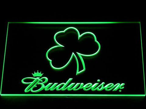 Budweiser Shamrock Outline LED Neon Sign - Green - SafeSpecial
