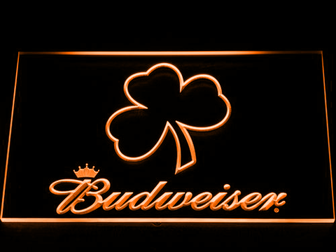 Budweiser Shamrock Outline LED Neon Sign - Orange - SafeSpecial