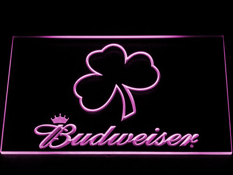 Budweiser Shamrock Outline LED Neon Sign - Purple - SafeSpecial