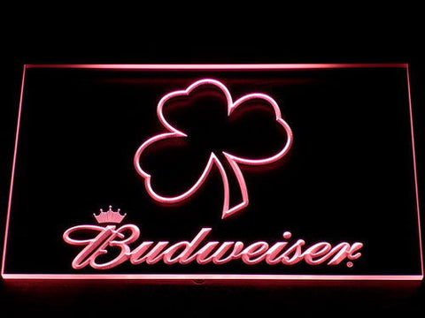 Budweiser Shamrock Outline LED Neon Sign - Red - SafeSpecial