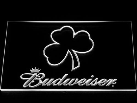 Budweiser Shamrock Outline LED Neon Sign - White - SafeSpecial