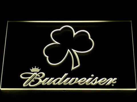 Budweiser Shamrock Outline LED Neon Sign - Yellow - SafeSpecial