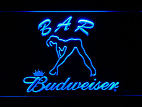 Budweiser Woman's Silhouette Bar LED Neon Sign - Blue - SafeSpecial