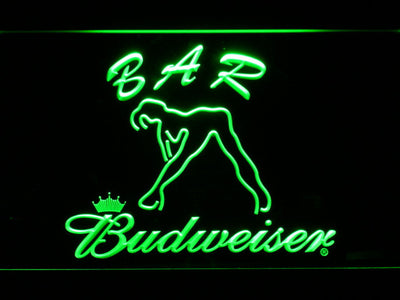 Budweiser Woman's Silhouette Bar LED Neon Sign - Green - SafeSpecial