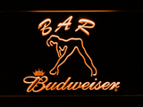 Budweiser Woman's Silhouette Bar LED Neon Sign - Orange - SafeSpecial