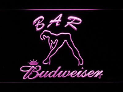 Budweiser Woman's Silhouette Bar LED Neon Sign - Purple - SafeSpecial