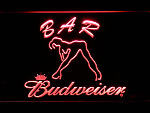 Budweiser Woman's Silhouette Bar LED Neon Sign - Red - SafeSpecial
