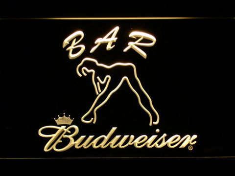 Budweiser Woman's Silhouette Bar LED Neon Sign - Yellow - SafeSpecial