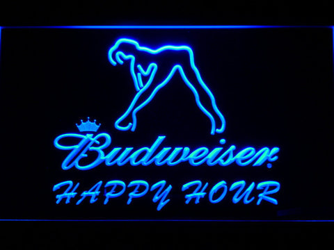 Budweiser Woman's Silhouette Happy Hour LED Neon Sign - Blue - SafeSpecial
