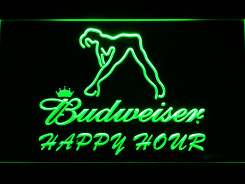 Budweiser Woman's Silhouette Happy Hour LED Neon Sign - Green - SafeSpecial
