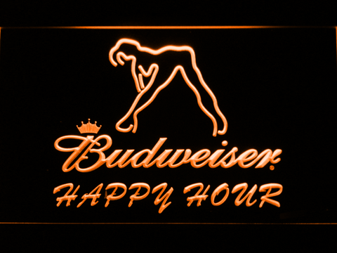 Budweiser Woman's Silhouette Happy Hour LED Neon Sign - Orange - SafeSpecial