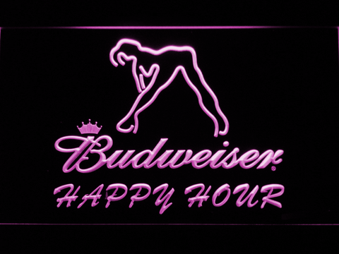 Budweiser Woman's Silhouette Happy Hour LED Neon Sign - Purple - SafeSpecial