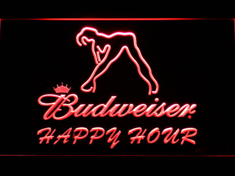 Budweiser Woman's Silhouette Happy Hour LED Neon Sign - Red - SafeSpecial