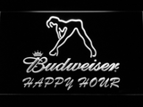 Budweiser Woman's Silhouette Happy Hour LED Neon Sign - White - SafeSpecial