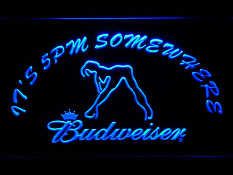 Image of Budweiser Woman's Silhouette It's 5pm Somewhere LED Neon Sign - Blue - SafeSpecial