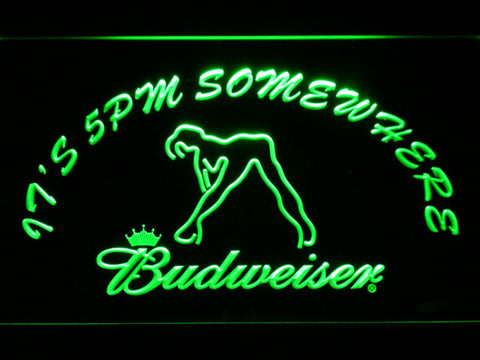 Image of Budweiser Woman's Silhouette It's 5pm Somewhere LED Neon Sign - Green - SafeSpecial