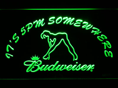 Budweiser Woman's Silhouette It's 5pm Somewhere LED Neon Sign - Green - SafeSpecial