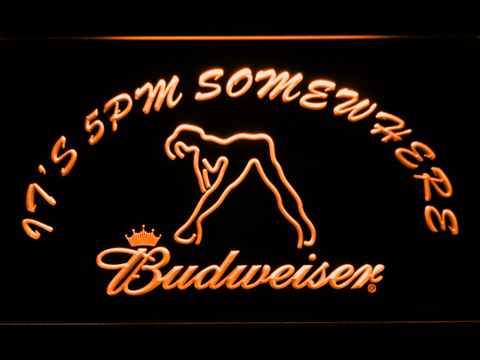 Image of Budweiser Woman's Silhouette It's 5pm Somewhere LED Neon Sign - Orange - SafeSpecial