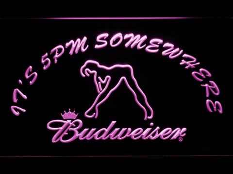 Image of Budweiser Woman's Silhouette It's 5pm Somewhere LED Neon Sign - Purple - SafeSpecial