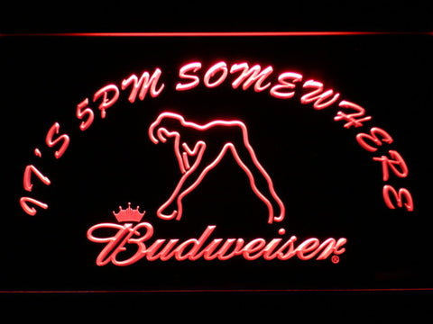 Image of Budweiser Woman's Silhouette It's 5pm Somewhere LED Neon Sign - Red - SafeSpecial