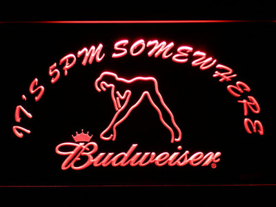 Budweiser Woman's Silhouette It's 5pm Somewhere LED Neon Sign - Red - SafeSpecial