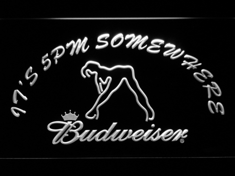 Image of Budweiser Woman's Silhouette It's 5pm Somewhere LED Neon Sign - White - SafeSpecial