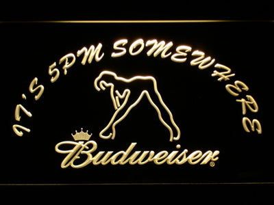 Budweiser Woman's Silhouette It's 5pm Somewhere LED Neon Sign - Yellow - SafeSpecial