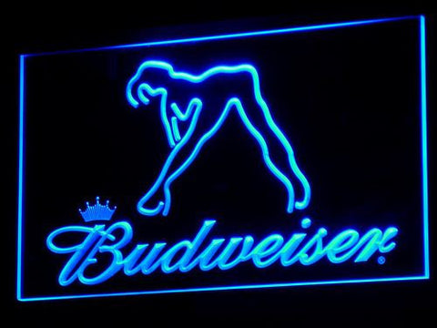 Budweiser Woman's Silhouette LED Neon Sign - Blue - SafeSpecial