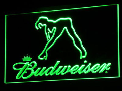 Budweiser Woman's Silhouette LED Neon Sign - Green - SafeSpecial