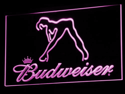 Budweiser Woman's Silhouette LED Neon Sign - Purple - SafeSpecial