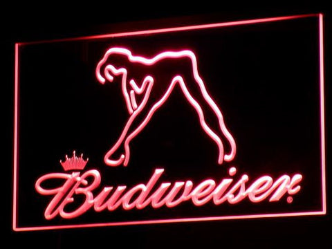 Budweiser Woman's Silhouette LED Neon Sign - Red - SafeSpecial
