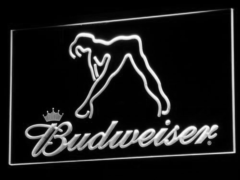 Budweiser Woman's Silhouette LED Neon Sign - White - SafeSpecial
