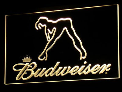 Budweiser Woman's Silhouette LED Neon Sign - Yellow - SafeSpecial