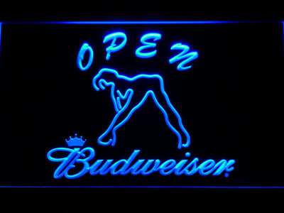 Budweiser Woman's Silhouette Open LED Neon Sign - Blue - SafeSpecial